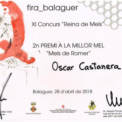 """2º Premio 2018 miel de romero. XI Concurso """"Reina de Mels"""""""