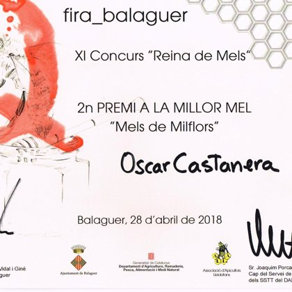 "2º Premio 2018 miel de mil flores. XI Concurso ""Reina de Mels"""